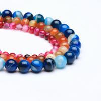 Natürliche Streifen Achat Perlen, rund, poliert, verschiedene Größen vorhanden, keine, Bohrung:ca. 1mm, verkauft von Strang