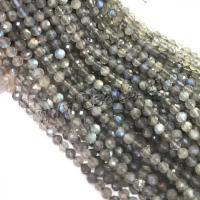 Labradorit Perlen, verschiedene Größen vorhanden & facettierte, grau, Bohrung:ca. 1mm, verkauft von Strang
