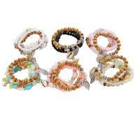 Acryl Armbänder, mit Muschel & Kristall & Holz & Zinklegierung, plattiert, mehrschichtig & für Frau, keine, 50*32mm, verkauft von Strang