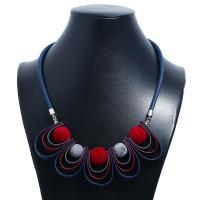 Stoff Halskette, mit Lederband, plattiert, für Frau, 2SträngeStrang/Menge, verkauft von Menge