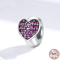 Befestiger Zirkonia Sterlingsilber Perlen, 925er Sterling Silber, Herz, plattiert, Micro pave Zirkonia, 7x9mm, verkauft von PC
