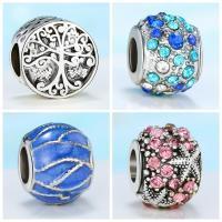 Strass Zinklegierung Perlen, plattiert, DIY & verschiedene Stile für Wahl & Emaille & mit Strass, frei von Nickel, Blei & Kadmium, 10mm, 10PCs/Menge, verkauft von Menge