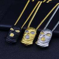 Zinklegierung Pullover Halskette, plattiert, für den Menschen & mit Strass, keine, 36x57.20mm, Länge:ca. 29.5 ZollInch, 5SträngeStrang/Menge, verkauft von Menge
