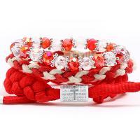 Gewachsten Baumwollkordel Armband-Set, mit Kristall, für Frau, rot, frei von Nickel, Blei & Kadmium, 220mm, 3SträngeStrang/setzen, verkauft von setzen