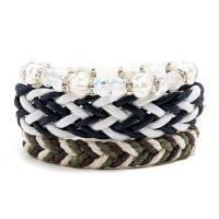 Gewachsten Baumwollkordel Armband-Set, mit Hanfgarn & Kristall, für Frau, weiß und schwarz, frei von Nickel, Blei & Kadmium, 220mm, 3SträngeStrang/setzen, verkauft von setzen