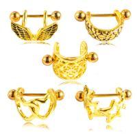 Edelstahl Brustpiercing Ring, mit kubischer Zirkonia & Messing, hypoallergenic & für Frau, goldfarben, 1.2mm,u957f11mm uff0cu5c0fu74034mm, verkauft von PC
