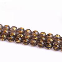 Natürliche Rauchquarz Perlen, rund, Einbrennlack, verschiedene Größen vorhanden & verschiedene Stile für Wahl & Golddruck & satiniert, Bohrung:ca. 1mm, verkauft von Strang