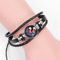 PU Leder Armband, mit Hämatit & Glas, Zeit Edelstein Schmuck & unisex & verschiedene Stile für Wahl, 17-18cm, verkauft von Paar