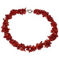 Koralle Halskette, Messing Federring Verschluss, Platinfarbe platiniert, für Frau, rot, 10*4mm-17*9*6mm, verkauft per ca. 19.6 ZollInch Strang