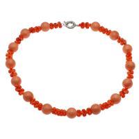Koralle Halskette, Messing Federring Verschluss, Platinfarbe platiniert, für Frau, rote Orange, 4mm,10*5mm, verkauft per ca. 19.6 ZollInch Strang