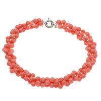 Koralle Halskette, Messing Federring Verschluss, Platinfarbe platiniert, für Frau, 8mm, verkauft per ca. 19.6 ZollInch Strang