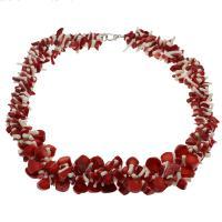 Coral Strickjacke-Kette Halskette, Koralle, Messing Karabinerverschluss, Platinfarbe platiniert, für Frau, 19*16*6mm-22*13*6mm,7*3mm-21*4mm, verkauft per ca. 23.6 ZollInch Strang
