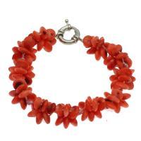 Korallen Armband, Koralle, Messing Federring Verschluss, Platinfarbe platiniert, für Frau, rote Orange, 8*4mm, verkauft per ca. 7.5 ZollInch Strang