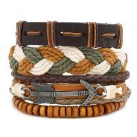 Gewachsten Baumwollkordel Armband-Set, mit Kunstleder & Hanfgarn & Holz, unisex, frei von Nickel, Blei & Kadmium, 180mm, 3SträngeStrang/setzen, verkauft von setzen