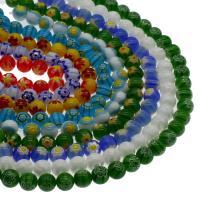 Millefiori Lampwork Perle, rund, keine, 10mm, Bohrung:ca. 0.8mm, Länge:15.7 ZollInch, 5SträngeStrang/Tasche, verkauft von Tasche