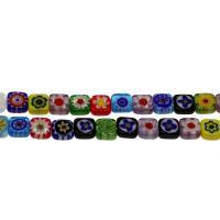 Millefiori Lampwork Perle, gemischtes Muster & verschiedene Größen vorhanden, Bohrung:ca. 0.5mm, Länge:15.7 ZollInch, 5SträngeStrang/Tasche, verkauft von Tasche