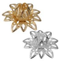 Messing Perlenkappe, Blume, plattiert, keine, frei von Nickel, Blei & Kadmium, 16x8mm, Bohrung:ca. 1mm, 500PCs/Menge, verkauft von Menge