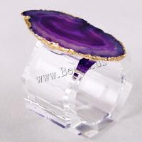 Achat Serviettenring, mit Natürlicher Quarz, plattiert, keine, 30-55mm,48x48mm, verkauft von PC