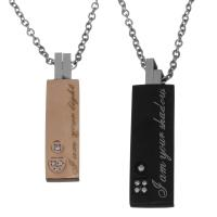 Edelstahl Ehepaar Halskette, mit Verlängerungskettchen von 2Inch, plattiert, Oval-Kette & Micro pave Zirkonia, 8x32.5mm,2mm,10.5x37.5mm,2mm, Länge:ca. 20 ZollInch, 2brutto/setzen, verkauft von setzen