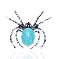 Zinklegierung Broschen, mit Türkis, Spinne, plattiert, für Frau, frei von Nickel, Blei & Kadmium, 45x52mm, verkauft von PC