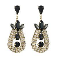 Strass Tropfen Ohrring, mit Zinklegierung, plattiert, für Frau, keine, frei von Nickel, Blei & Kadmium, 65x26mm, verkauft von Paar
