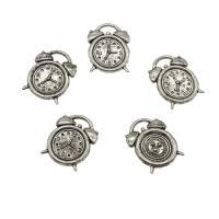 Zinklegierung Uhr Anhänger, Wecker, antik silberfarben plattiert, frei von Nickel, Blei & Kadmium, 14x18x2mm, Bohrung:ca. 1mm, ca. 625PCs/kg, verkauft von kg