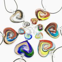 Lampwork Halskette, Herz, für Frau, frei von Nickel, Blei & Kadmium, 43mm, verkauft per 1.72 ZollInch Strang