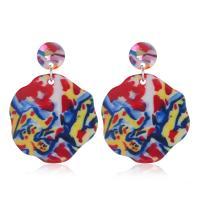 Acryl Tropfen Ohrring, Kunstdruck, verschiedene Stile für Wahl & für Frau, 35x50mm, 2PaarePärchen/Menge, verkauft von Menge