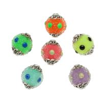 Gemischte Acrylperlen, Acryl, mit Messing, antik silberfarben plattiert, verschiedene Größen vorhanden, gemischte Farben, Bohrung:ca. 2mm, verkauft von Tasche