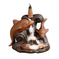 Porcelain Backflow Incense Burner, Lila Sand, handgemacht, 130x95x110mm, verkauft von PC