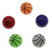 Gemischte Acrylperlen, Acryl, BasketballKorbball, gemischte Farben, 20mm, Bohrung:ca. 2mm, ca. 200PCs/Tasche, verkauft von Tasche