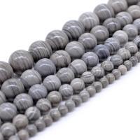 Holzmaserung Stein Perlen, Grain Stein, rund, poliert, DIY & verschiedene Größen vorhanden, grau, Bohrung:ca. 1mm, verkauft von Strang