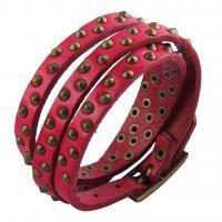 Zinklegierung Wrap Armband, mit PU Leder, plattiert, unisex, keine, frei von Nickel, Blei & Kadmium, 62.5cm, verkauft per ca. 24.6 ZollInch Strang
