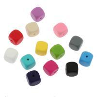 Silikon-Perlen, Silikon, Quadrat, verschiedene Größen vorhanden, keine, Bohrung:ca. 2mm, ca. 100PCs/Tasche, verkauft von Tasche
