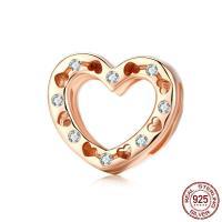 Befestiger Zirkonia Sterlingsilber Perlen, 925er Sterling Silber, Herz, Rósegold-Farbe plattiert, DIY & Micro pave Zirkonia, 13x12mm, verkauft von PC