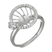 925er Sterling Silber Ringfassung, Micro pave Zirkonia, Silberfarbe, 13.5mm,5mm,0.8mm, Größe:7, 5PCs/Menge, verkauft von Menge
