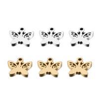 Edelstahl Tieranhänger, Schmetterling, plattiert, hohl, keine, 10x10mm, Bohrung:ca. 1.2mm, 50PCs/Tasche, verkauft von Tasche