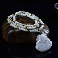 Jadeit Halskette, mit Zink-Legierung Perle, goldfarben plattiert, buddhistischer Schmuck & unisex & verschiedene Stile für Wahl, 15x23x40mm,7x28x50mm,8x35x50mm,40x40x8mm, verkauft per ca. 21 ZollInch Strang