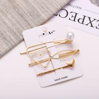 Haarschieber, Zinklegierung, mit Kunststoff Perlen, plattiert, verschiedene Stile für Wahl & für Frau, goldfarben, frei von Nickel, Blei & Kadmium, verkauft von setzen