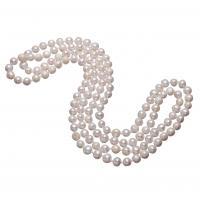 Süßwasserperlen Pullover Halskette, Natürliche kultivierte Süßwasserperlen, rund, natürlich, für Frau, weiß, 7-8mm, verkauft per ca. 48 ZollInch Strang