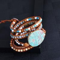 Kristall Wrap Armband, mit Naturstein & Baumwolle Schnur, plattiert, für Frau, mehrere Farben vorhanden, 850mm, verkauft von Strang