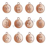 Edelstahl-Konstellation -Anhänger, Edelstahl, plattiert, verschiedene Stile für Wahl, Roségold, 10PCs/Menge, verkauft von Menge