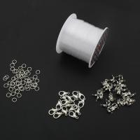 Zinklegierung Linking ring, mit elastischer Faden, Platinfarbe platiniert, frei von Nickel, Blei & Kadmium, 5x1mm,9x7x2mm,11x12x3mm, verkauft von setzen