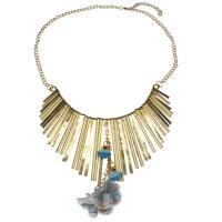 Zinklegierung Franse Halskette, mit Stoff, mit Verlängerungskettchen von 6.5cm, goldfarben plattiert, Twist oval & für Frau, frei von Nickel, Blei & Kadmium, 114x99x5mm, verkauft per ca. 17.33 ZollInch Strang