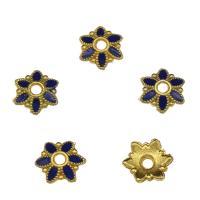 Messing Perlenkappe, Blume, goldfarben plattiert, Emaille, blau, frei von Nickel, Blei & Kadmium, 7x2mm, Bohrung:ca. 1mm, 10PCs/Tasche, verkauft von Tasche