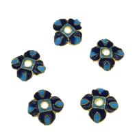 Zinklegierung Perlenkappe, Blume, goldfarben plattiert, Emaille, frei von Nickel, Blei & Kadmium, 9x3mm, Bohrung:ca. 2mm, 10PCs/Tasche, verkauft von Tasche