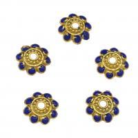 Zinklegierung Perlenkappe, Blume, goldfarben plattiert, Emaille, blau, frei von Nickel, Blei & Kadmium, 10x2.7mm, Bohrung:ca. 2mm, 10PCs/Tasche, verkauft von Tasche