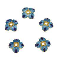 Zinklegierung Perlenkappe, Blume, goldfarben plattiert, Emaille, blau, frei von Nickel, Blei & Kadmium, 9.8x3.5mm, Bohrung:ca. 2mm, 10PCs/Tasche, verkauft von Tasche