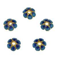 Zinklegierung Perlenkappe, Blume, goldfarben plattiert, Emaille, blau, frei von Nickel, Blei & Kadmium, 7.6x2.6mm, Bohrung:ca. 1.7mm, 10PCs/Tasche, verkauft von Tasche