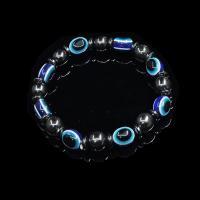 Hämatit Armband, mit Kristall Faden, elastisch & böser Blick- Muster & für den Menschen, verkauft per ca. 8 ZollInch Strang